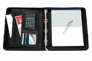 Executive A4 Faux Leather Ring Binder Conference Folder With Handles
