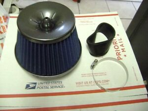 Blue 3 Inlet High Flow Cold Intake Round Cone Mesh Air Filter