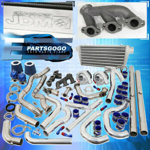94 97 Mustang V6 3 8l Turbo Kit Blue Set Intercooler Downpipe Piping Wastegate
