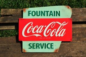 Coca-Cola Fountain Service Embossed Tin Metal Sign - Vintage - Retro - Coke