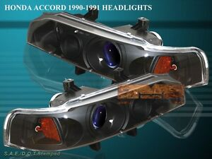 Fit For 1990 1993 Honda Accord Projector Headlights Jdm Black 92 91
