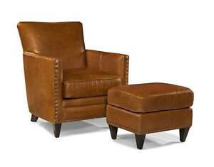 New French Art Deco Style Leather Club Chair And Ottoman Top Grain Leather