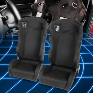 Black Woven Universal Wide Head Rest Sport Reclinable Racing Seat Left Right