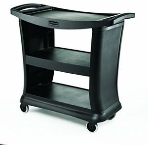 Service Cart Rolling Utility Snap And Lock Shelf Plastic Bumper Dolly Black New