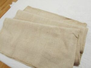 20x44 Vtg Antique Plain No Stripe European Hemp Linen Fabric Feed Sack Grain Bag