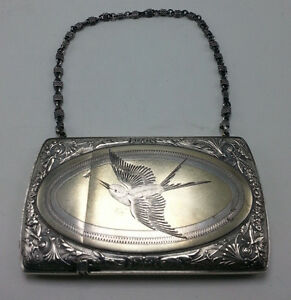 Gorham Sterling Victorian Card Case With Engraved Bird And Chain Handle