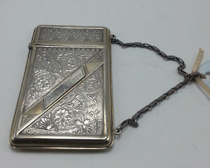 Sterling Victorian Card Case With Chain Handle
