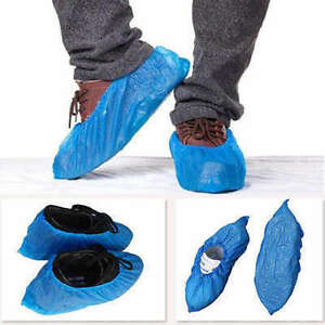 100 Pcs Disposable Shoe Covers 5 9x14 2 Plastic Overshoe Carpet Medical Boot