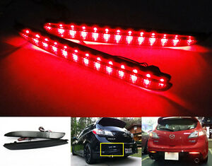 Black Smoked Lens Led For 2010 Mazda 3 Speed3 Bumper Reflector Tail Brake Light