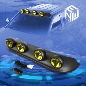 Universal Off road Style 4x4 Roof Top Yellow Round Fog Light Lamp switch Kit
