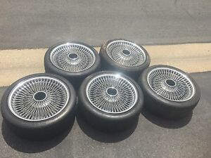 Lowrider 17 Chrome Wire Wheels 100 Spokes 5 Wheels With Tire Knock Offs
