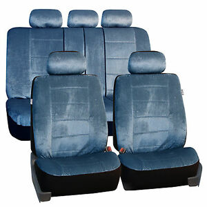 Regal Ultra Plush Blue 2 Row Seat Covers Air Bag Safe Split Bench