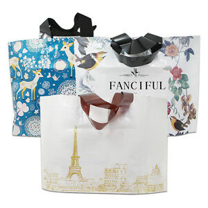 Printed Plastic Clothes Gift Packaging Merchandise Shopping Bags With Handle