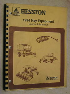 1994 Agco Hesston Hay Equipment Service Information Repair Manual