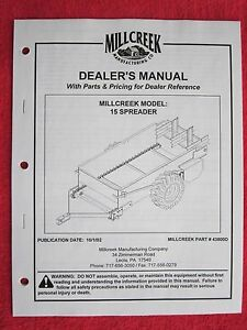 2002 Millcreek Model 15 Manure Spreader Operators maintenance parts Manual