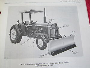 1978 Jd John Deere 523 Agricultural Bulldozer Tractor Blade Parts Catalog Manual