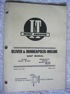 I t Oliver minneapolis Moline G955 tractor Shop Manual