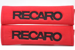 Black On Red Embroidery Soft Seat Belt Cover Shoulder Pad Pair Recaro Logo