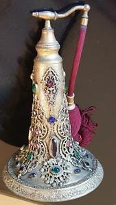 Rare 1920 S Jeweled Antique Lrg Empire Art Gold Perfume Bottle Atomizer Ormolu