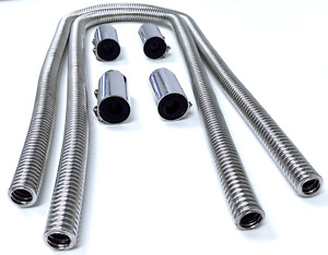 44 Chrome Stainless Steel Heater Hose Kit W Polished Aluminum End Caps