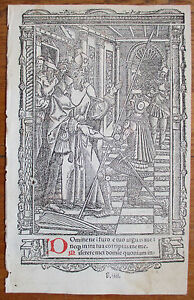 Book Of Hours Leaf Hardouin Woodcut Border Miniature Blessing 1510
