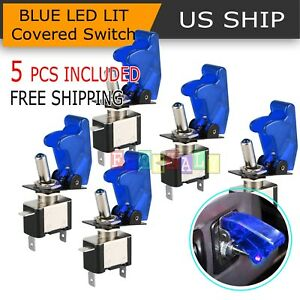 5 Pcs 12v Blue Led Light Cover Spst Toggle Switch Switches Control Car Boat
