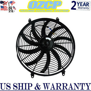 Universal 16 Inch 12v Slim Fan Push Pull Electric Radiator Cooling Mount Kit