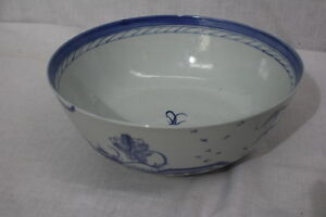 Antique 19th Century Chinese Export Canton Blue Porcelain 10 Punch Bowl 2