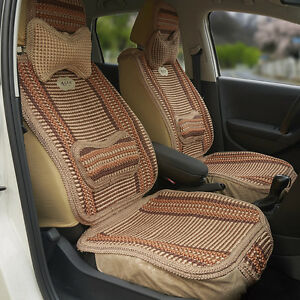1pc Summer Cooling Auto Car Seat Cover Cushion Back Support Waist Massage Brown