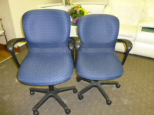 2 Office Chairs Excellent Conditon Blue Material