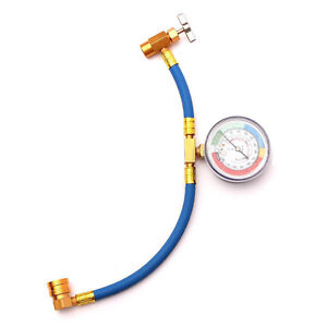 Pro R 134 R134a Ac Refrigerant Recharge Hose Can Tap Gauge With Brass Fitting