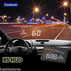 Car Hud Head Up Display Obd Ii Speed Warning System Projector Fuel Tachometer Us
