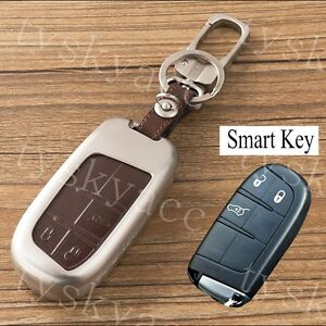 Metal Shell Key Bag Case Holder Chain Fob Cover For Jeep Cherokee Chrysler 300c