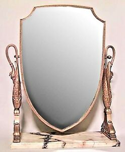 French Empire Style 19th Cent Bronze Dore Shield Shaped Dressing Table Mirror