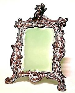 French Louis Xv Style 19th Cent Silver Plate Rectangular Dressing Table Mirror