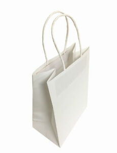 100 Small White Kraft Paper Bags Premium With Handles 5 25x3 75x8