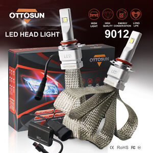 2x 9012 Car Led Headlight Lamp Lights Bulbs 72w 8000lm Cree Chips Headlight Kit