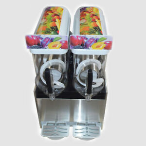 2 Tank Commercial Frozen Drink Slush Slushy Make Machine Smoothie Maker New