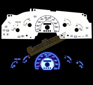 White Indiglo Gauge Kit Glow Blue Reverse For 97 98 Ford F 150 F150 W O Tach Rpm