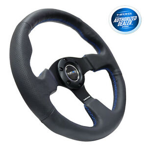 Nrg Steering Wheel Race Leather With Blue Stitch 320mm Type R Style Rst 012r Bl