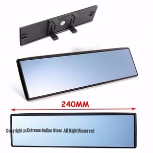 Universal 240mm Interior Clip On Style Wide Flat Blue Tinted Rear View Mirror