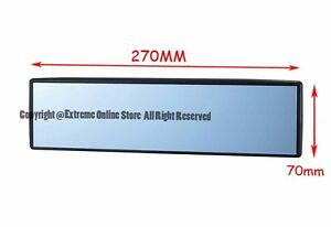 Universal 270mm Interior Clip On Style Wide Flat Blue Tinted Rear View Mirror