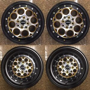 2x 15x3 5 And 2x 13x8 Drag Racing Rims 4x100 4x114 3 Revolver Gold Black Wheels