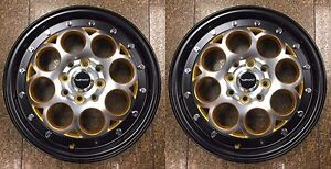 2 Gold Rims 15x3 5 Revolver Racing Skinny Black Silver Wheels 4x100 4x114 Et10
