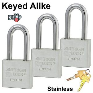 Master american Padlock 3 High Security Locks Solid Stainless Steel A6461nka