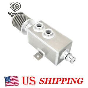 Aluminum 1l Oil Catch Can Reservoir Tank Breather Filter Baffled 10an Fitting