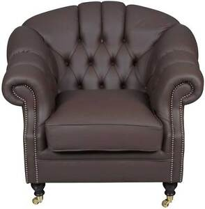 New Antique Style Brown Leather Club Chair Traditional English Arm Chair Fs