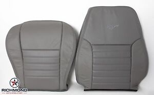 99 04 Ford Mustang Gt Driver Side Bottom Lean Back Leather Seat Covers Gray