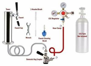 1 Tap Chrome Tower Draft Beer Kegerator Conversion Kit