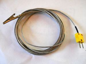 K Type Steel Overbraid Thermocouple Connector W Aligator Clamp End 9 75 Wire